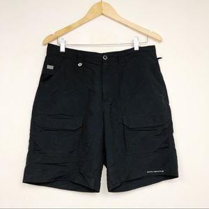 Columbia PFG Fishing Shorts Black Solid Mesh Nylon